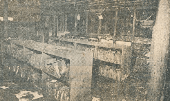 Aftermath of 1982 fire in children's room at the Temple Terrace Library