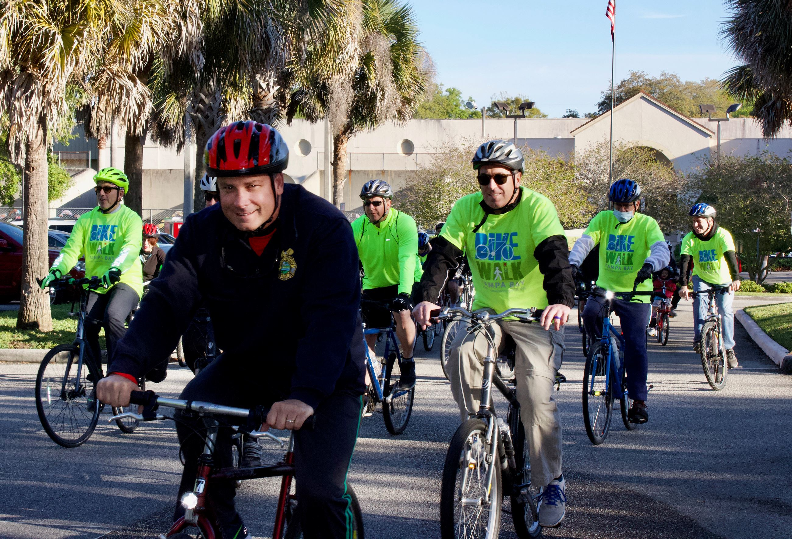 A group of bike riders participating in the annual Bike with the Mayor ride.