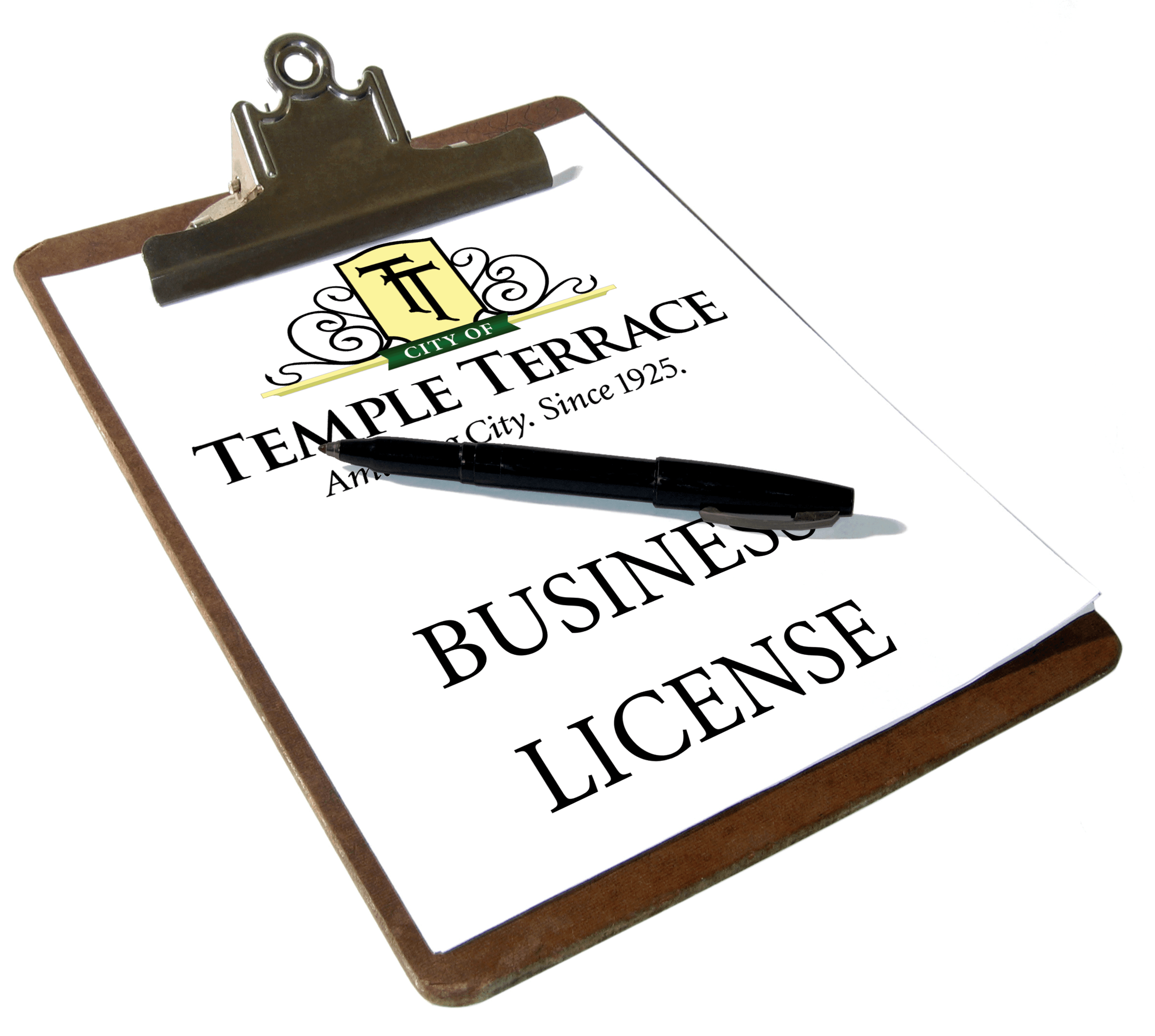 Clipboard with business license Opens in new window