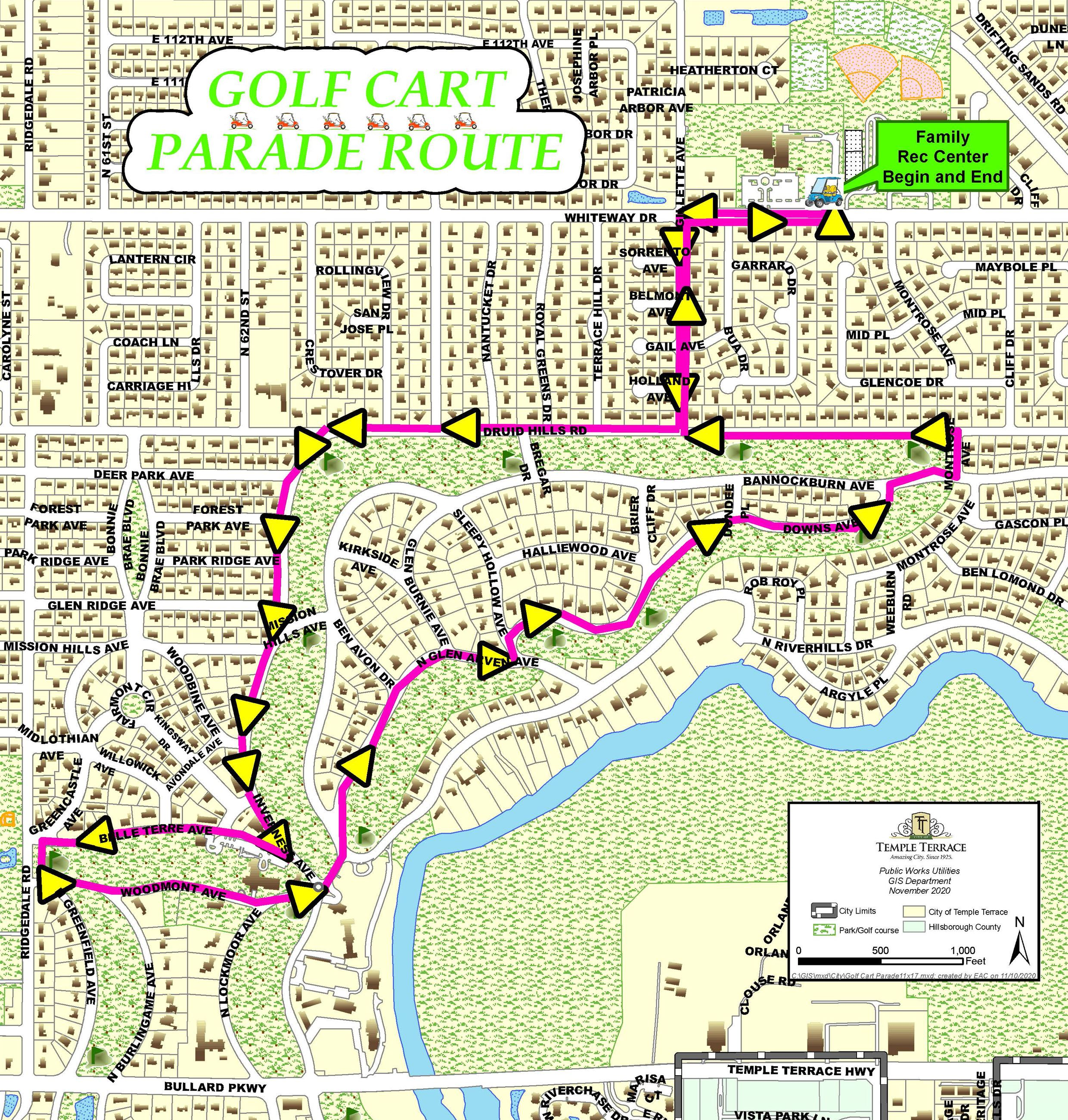Golf Cart Parade route map